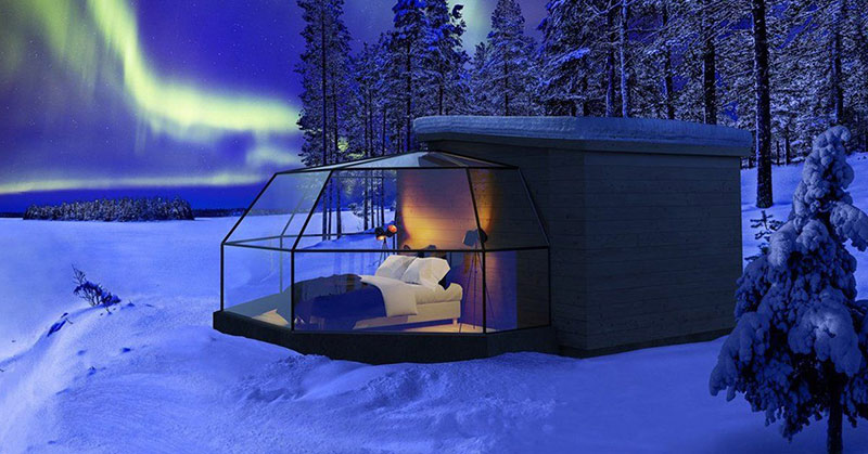 glass igloo in finland to watch the northern lights aurora borealis
